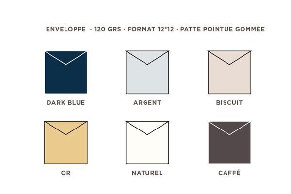 2021 Carte de voeux Intaglio, les couleurs des enveloppes au format 12 x 12