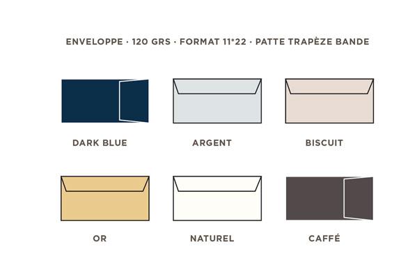 2021 Carte de voeux Intaglio, les couleurs des enveloppes au format 11 x 22