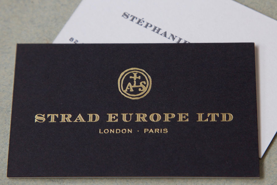 Carte De Visite Intaglio pour Strad avec la typographie Chevalier_Or