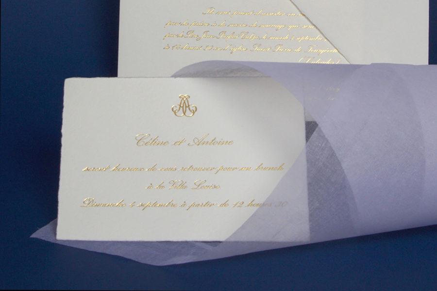 Faire-part traditionnel imprimé en gravure or sur un papier vélin d'arche par l'imprimerie Intaglio
