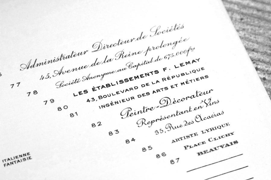 Spécimen caractères TailleDouce Archive Imprimerie Intaglio