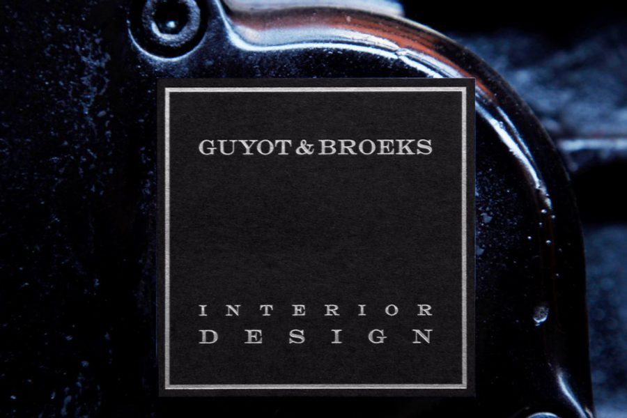 Carte de visite Noire imprimée en gravure argent par Intaglio imprimerie pour Guyot & Broeks interior design