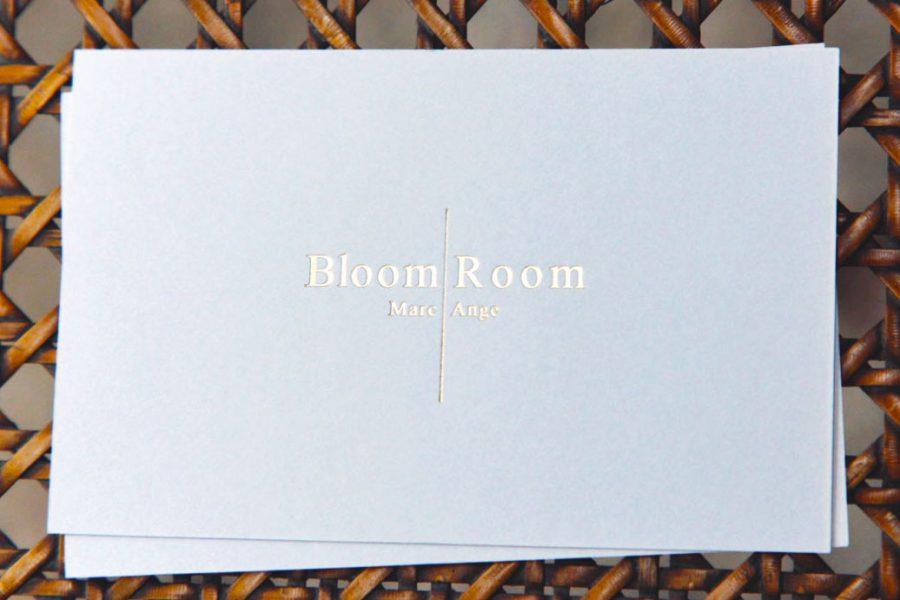 Intaglio Imprimerie Carte De Visite Blanche Gravure Or Logo Bloom Room Marc Ange