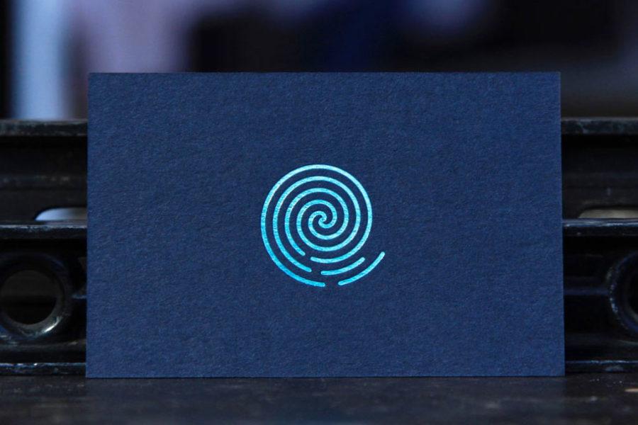 Intaglio Imprimerie Carte De Visite Imprimee Dorure Vert Metallique Bleu Marine