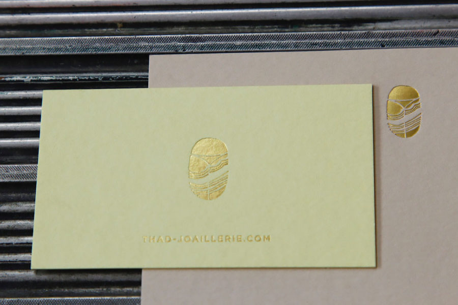Carte De Visite Imprimerie Intaglio Dorure Or Joaillerie Thad Couleur Pistachio