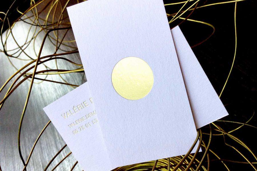 Carte De Visite Blanche Gravure Or Recto Verso Pour Valerie Par Imprimerie Intaglio Chevron