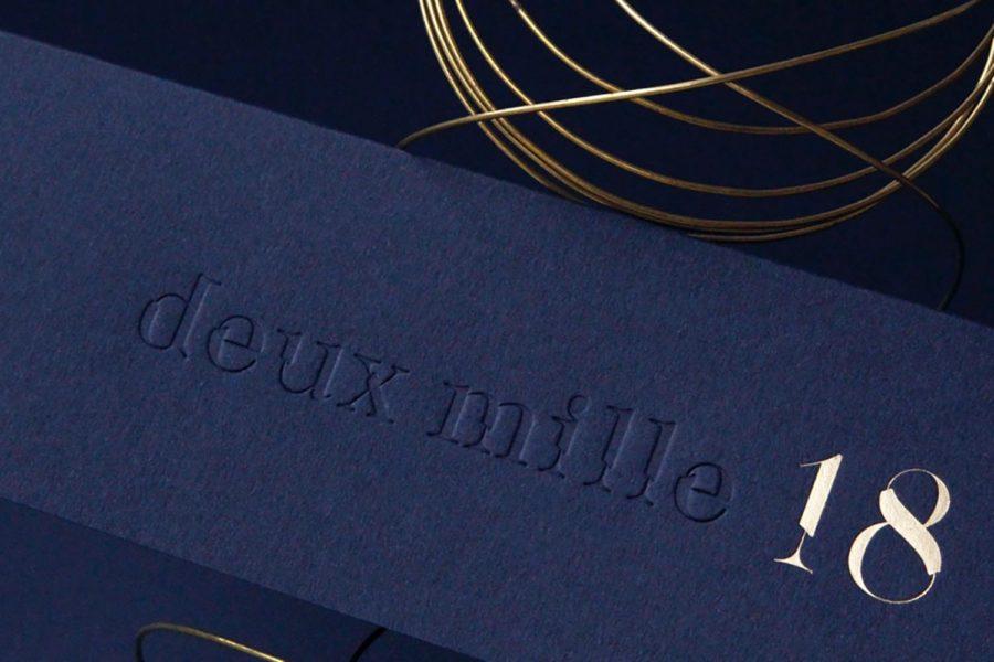 Carte de vœux 2018 Deux Mille or bleu