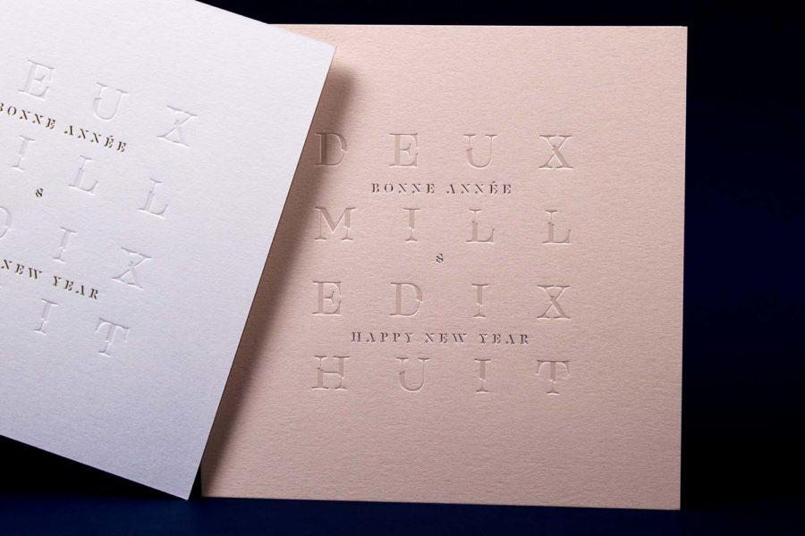 Carte de vœux 2018 Estampe Biscuit Blanc