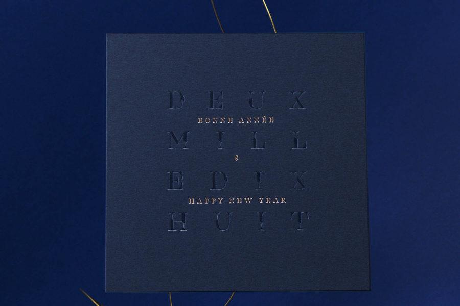 Carte de vœux 2018 Estampe Bleu