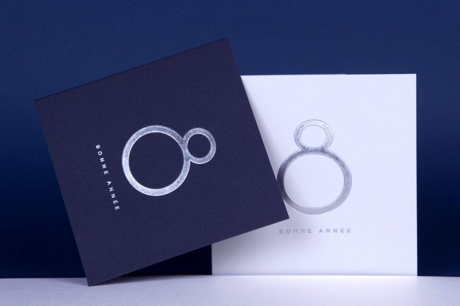 Carte de vœux 2018 Collection Intaglio Paris, modèle Ring en Argent sur carte Bleu et Blanche