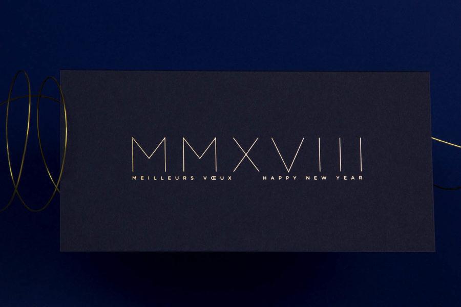 Carte de vœux 2018 Romaine or Bleu