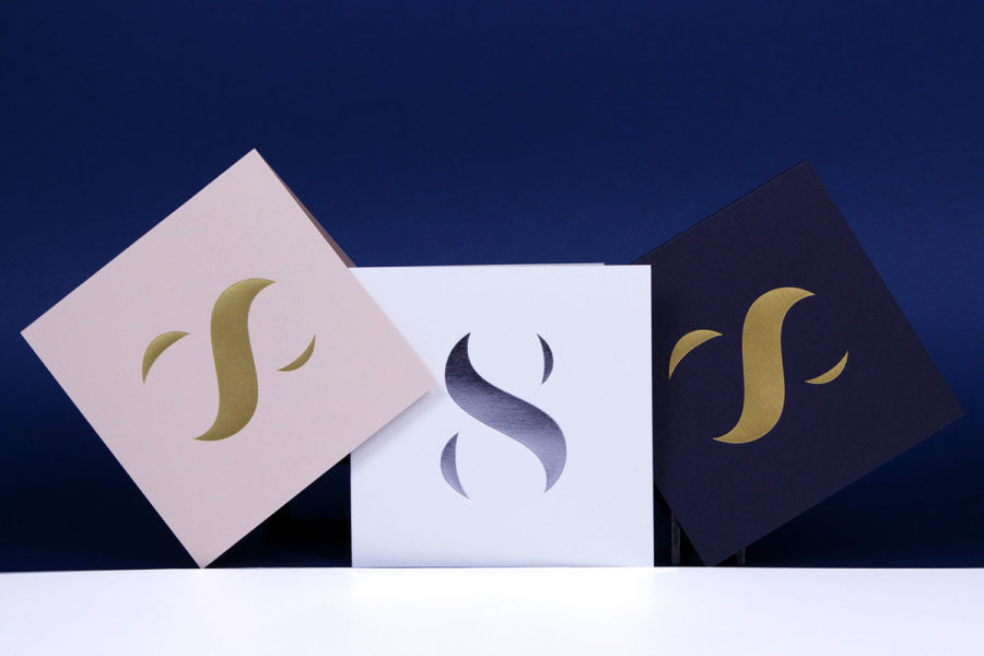 Carte de vœux Silhouette argent biscuit blanc bleu