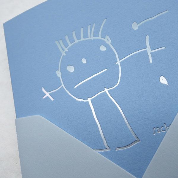 Faire-part deFaire-part de naissance collection Crayon en dorure argent sur carte de couleur bleu Celeste par Intaglio-Paris