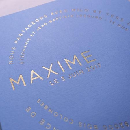 Faire-part de naissance collection Farandole en dorure or sur carte de couleur Celeste par Intaglio-Paris