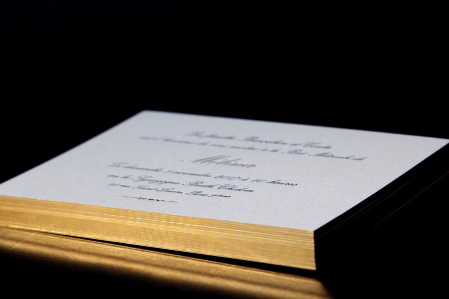 Intaglio Imprimerie carte invitation bat mitzvah carte blanche tranche dorure or
